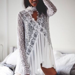 Free People with lacy deep V mini